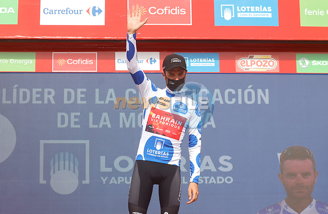 Damiano Caruso (ITA) Bahrain Victorious wins Stage 9 and takes over the mountains Polka Dot Jersey of La Vuelta d'Espana 2021, running 188km from Puerto Lumbreras to Alto de Velefique, Spain. 22nd August 2021.     <br /> Picture: Luis Angel Gomez/Photogomezsport | Cyclefile<br /> <br /> All photos usage must carry mandatory copyright credit (© Cyclefile | Luis Angel Gomez/Photogomezsport)
