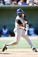 Eddie Davis of the San Bernardino Stampede bats during  a game against the Lake Elsinore Storm during the 1996 baseball season at The Diamond in Lake Elsinore, California. (Larry Goren/Four Seam Images)