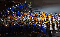 12 AUG 2012 - LONDON, GBR - The athletes file into the stadium  during the London 2012 Olympic Games Closing Ceremony in the Olympic Stadium in the Olympic Park, Stratford, London, Great Britain .(PHOTO (C) 2012 NIGEL FARROW)