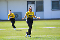 Thamsyn Newton celebrates catching Natalie Dodd on 22 during the women's Hallyburton Johnstone Shield one-day cricket match between the Wellington Blaze and Central Hinds at Donnelly Park in Levin, New Zealand on Sunday, 6 December 2020. Photo: Dave Lintott / lintottphoto.co.nz
