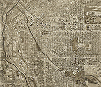 historical aerial photograph Denver, Colorado, 1971