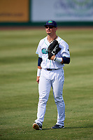 Lynchburg Hillcats left fielder Mitch Longo (10) during the first game of a doubleheader against the Potomac Nationals on June 9, 2018 at Calvin Falwell Field in Lynchburg, Virginia.  Lynchburg defeated Potomac 5-3.  (Mike Janes/Four Seam Images)