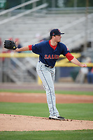 Salem Red Sox starting pitcher Daniel McGrath (29) delivers a pitch during the first game of a doubleheader against the Potomac Nationals on May 13, 2017 at G. Richard Pfitzner Stadium in Woodbridge, Virginia.  Potomac defeated Salem 6-0.  (Mike Janes/Four Seam Images)