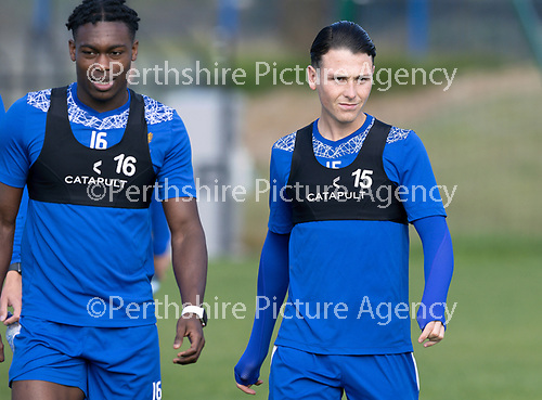 St Johnstone Training….McDiarmid Park, Perth.<br />Danny McNamara back from international duty pictured at training with Tanto Olaofe ahead of Saturday's game at Motherwell.<br />Picture by Graeme Hart.<br />Copyright Perthshire Picture Agency<br />Tel: 01738 623350  Mobile: 07990 594431