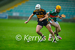 Mike Milner of Dr Crokes and Crotta's Declan O'Donoghue tussle for possession in the County Hurling championship round 2 game on Friday