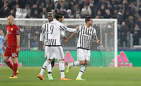 Calcio, andata degli ottavi di finale di Champions League: Juventus vs Bayern Monaco. Torino, Juventus Stadium, 23 febbraio 2016. <br /> Juventus' Stefano Sturaro, right, celebrates with teammates Alvaro Morata, second from right, and Paul Pogba, after scoring the equalizer goal, as Bayern's Arjen Robben, left, reacts during the Champions League first leg round of 16 football match between Juventus and Bayern at Turin's Juventus Stadium, 23 February 2016. The game ended 2-2.<br /> UPDATE IMAGES PRESS/Isabella Bonotto