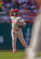 6 September 2014: Philadelphia Phillies shortstop Jimmy Rollins in action against the Washington Nationals at Nationals Park in Washington, DC. The Nationals fell to the Phillies 3-1 in the second game of their 3-game series. Mandatory Credit: Ed Wolfstein Photo *** RAW (NEF) Image File Available ***