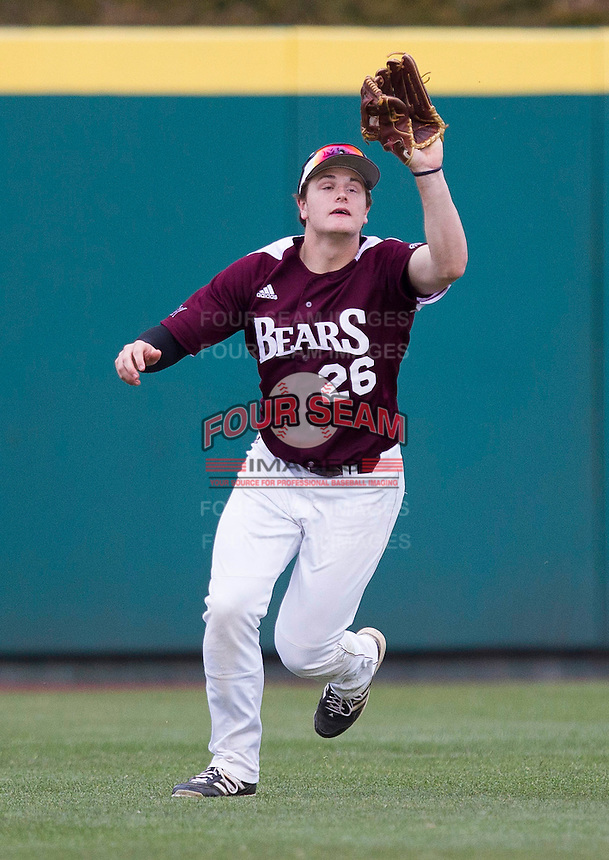 Tate Matheny (26) of the Missouri State Bears catches a ball hit to center field during a game against the Northwestern Wildcats at Hammons Field on March 9, 2013 in Springfield, Missouri. (David Welker/Four Seam Images)
