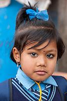 Bhaktapur, Nepal.  Young Schoolgirl in Uniform.