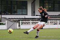 Sari Kees of OHL (2) shoots at the goal during the warm up before a female soccer game between Oud Heverlee Leuven and Femina White Star Woluwe  on the 5 th matchday of the 2020 - 2021 season of Belgian Womens Super League , Sunday 18 th of October 2020  in Heverlee , Belgium . PHOTO SPORTPIX.BE | SPP | SEVIL OKTEM