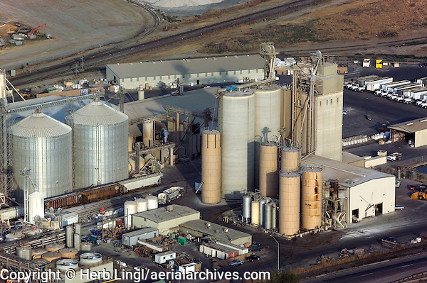 aerial photograph of a grain elevator in California's central valley south of Fresno