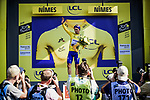 Race leader Julian Alaphilippe (FRA) Deceuninck-Quick Step retains the Yellow Jersey at the end of Stage 16 of the 2019 Tour de France running 177km from Nimes to Nimes, France. 23rd July 2019.<br /> Picture: ASO/Pauline Ballet   Cyclefile<br /> All photos usage must carry mandatory copyright credit (© Cyclefile   ASO/Pauline Ballet)