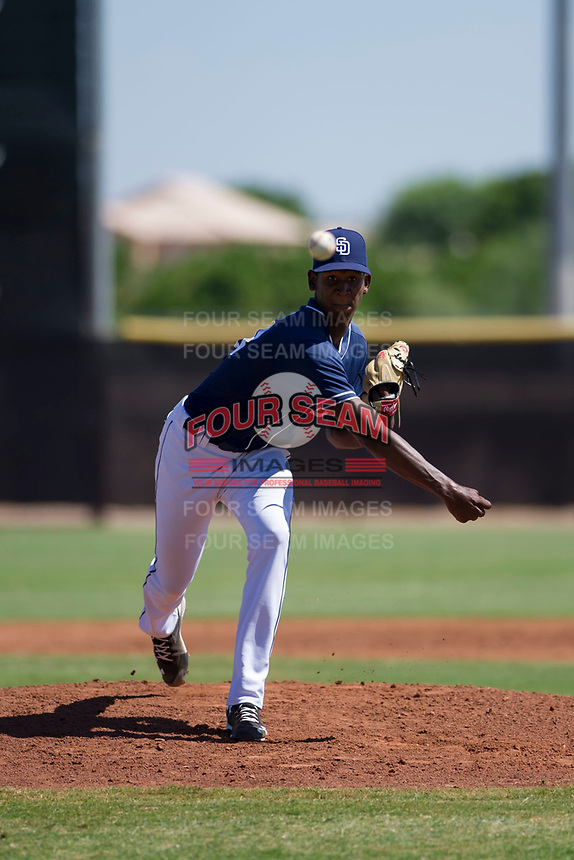 San Diego Padres pitcher Henry Henry (28) follows through on his delivery during an Instructional League game against the Texas Rangers on September 20, 2017 at Peoria Sports Complex in Peoria, Arizona. (Zachary Lucy/Four Seam Images)