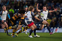 Alex Grove of Worcester Warriors relishes the pass from Andy Goode of Worcester Warriors during the LV= Cup second round match between London Wasps and Worcester Warriors at Adams Park on Sunday 18th November 2012 (Photo by Rob Munro)