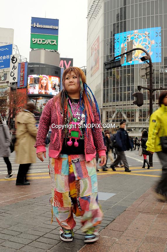 Kie Fukada, 20, poses in Shibiya, central Tokyo, 12th Jan 2010.