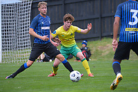 Sam Mason-Smith and Finn Conchie during the Central League football match between Miramar Rangers and Lower Hutt AFC at David Farrington Park in Wellington, New Zealand on Saturday, 10 April 2021. Photo: Dave Lintott / lintottphoto.co.nz