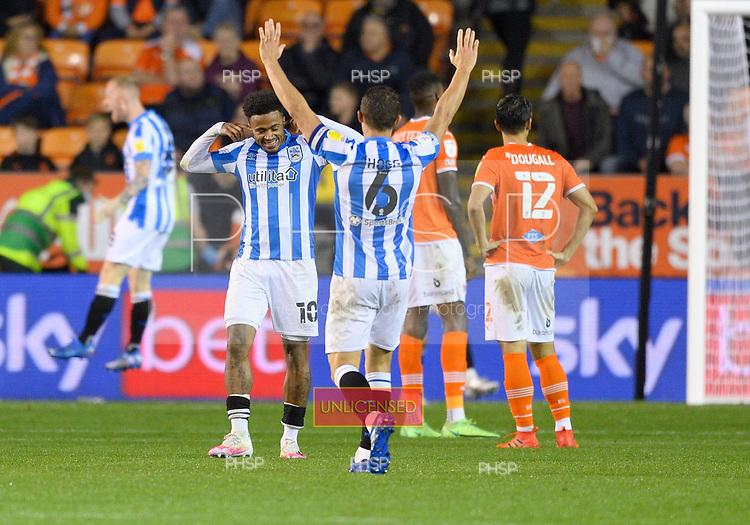 14/09/2021 Sky Bet Championship Blackpool v Huddersfield Town  <br /> <br /> Josh Koroma celebrates after scoring the first Huddersfield Town goal