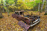 Abandoned Chevrolet car surrounded by leaf drop at the site of the old North Woodstock Civilian Conservation Corps Camp in North Woodstock, New Hampshire.