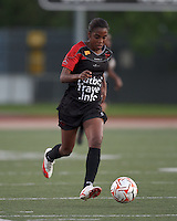 FC Indiana midfielder Nadia Valentin (19) dribbles down the wing. In a Women's Premier Soccer League Elite (WPSL) match, the Boston Breakers defeated FC Indiana, 4-1, at Dilboy Stadium on May 18, 2012.