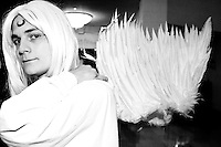 """A cos-player at the 12th annual Katsucon, a convention for fans of Japanese comics, animation (anime), and video games, held in Washington D.C. on February 18, 2006 and attended by over 8,000 people.<br /> <br /> Cosplay, short for """"costume play"""", is the act of creating and wearing outfits of one's favorite anime, comic, or video game and often acting out that characters actions."""