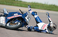 AMA Superbike race Geoff May crashes during qualifying for the Tornado Nationals at Heartland Park Topeka, in Topeka, Kansas, July 31, 2009. (Photo by Brian Cleary/www.bcpix.com)