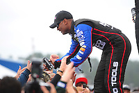 Mar. 11, 2012; Gainesville, FL, USA; NHRA top fuel dragster driver Antron Brown during the Gatornationals at Auto Plus Raceway at Gainesville. Mandatory Credit: Mark J. Rebilas-