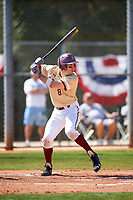 Boston College Eagles shortstop Johnny Adams (8) at bat during a game against the Central Michigan Chippewas on March 3, 2017 at North Charlotte Regional Park in Port Charlotte, Florida.  Boston College defeated Central Michigan 5-4.  (Mike Janes/Four Seam Images)
