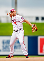 27 February 2019: Washington Nationals infielder Carter Kieboom in action against the Houston Astros at the Ballpark of the Palm Beaches in West Palm Beach, Florida. The Nationals defeated the Astros 14-8 in their Spring Training Grapefruit League matchup. Mandatory Credit: Ed Wolfstein Photo *** RAW (NEF) Image File Available ***