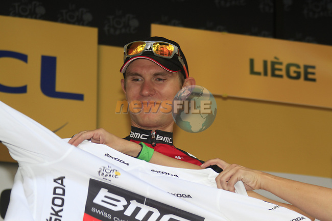 Tejay Van Garderen (USA) BMC Racing Team takes the first young riders White Jersey at the end of the Prologue of the 99th edition of the Tour de France 2012, a 6.4km individual time trial starting in Parc d'Avroy, Liege, Belgium. 30th June 2012.<br /> (Photo by Eoin Clarke/NEWSFILE)