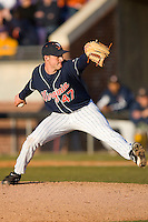 Relief pitcher Whit Mayberry #47 of the Virginia Cavaliers in action versus the East Carolina Pirates at Clark-LeClair Stadium on February 20, 2010 in Greenville, North Carolina.   Photo by Brian Westerholt / Four Seam Images