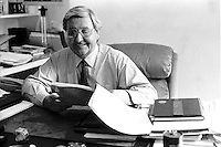 File Photo -  Richard Holden in his ALLIANCE QUEBEC office, August 16, 1989.<br /> <br />  Photo :  Agence Quebec Presse- Pierre Roussel