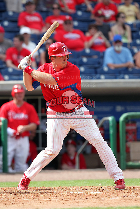 Philadelphia Phillies catcher Erik Kratz #31 during a scrimmage against the Florida State Seminoles at Brighthouse Field on February 29, 2012 in Clearwater, Florida.  Philadelphia defeated Florida State 6-1.  (Mike Janes/Four Seam Images)