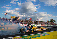 May 30, 2014; Englishtown, NJ, USA; NHRA top fuel driver Tony Schumacher during qualifying for the Summernationals at Raceway Park. Mandatory Credit: Mark J. Rebilas-