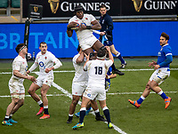 13th February 2021; Twickenham, London, England; International Rugby, Six Nations, England versus Italy; Maro Itoje of England grabs the high ball
