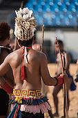 A Brazilian Paresi archer waits to shoot during the International Indigenous Games, in the city of Palmas, Tocantins State, Brazil. Photo © Sue Cunningham, pictures@scphotographic.com 28th October 2015