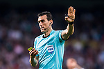 Referee Juan Martinez Munuera reacts during the La Liga 2017-18 match between Real Madrid and Athletic Club Bilbao at Estadio Santiago Bernabeu on April 18 2018 in Madrid, Spain. Photo by Diego Souto / Power Sport Images