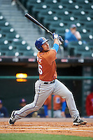 Durham Bulls catcher Luke Maile (46) at bat during a game against the Buffalo Bisons on June 13, 2016 at Coca-Cola Field in Buffalo, New York.  Durham defeated Buffalo 5-0.  (Mike Janes/Four Seam Images)