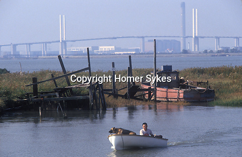 Swanscombe Peninsula North Kent Borough of Dartford UK. 1990s. Broadness Creek. Dartford Bridge in distance. 1991