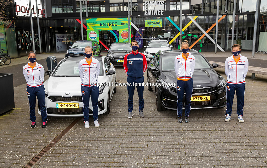 Den Bosch, The Netherlands, April 15, 2021,    Maaspoort, Billy Jean King Cup  Netherlands -  China : Dutch team with KIA Cars<br /> Photo: Tennisimages/Henk Koster