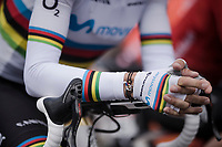 World Champion Alejandro Valverde (ESP/Movistar) with a 'mini-me bike' bracelet at the race start in Ans<br /> <br /> 83rd La Flèche Wallonne 2019 (1.UWT)<br /> One day race from Ans to Mur de Huy (BEL/195km)<br /> <br /> ©kramon