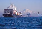 Container ship, Mount Rainier, Tacoma, Commencement Bay, Puget Sound, Washington State. Pacific Northwest, West Coast, USA, Maersk Sea-Land owned Sea-Land Kodiak in 2000. Now sailing as the Horizon Kodiak entering Port of Tacoma