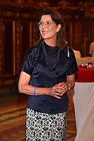 """---- NO TABLOIDS, NO WEB -- EXCLUSIF - La Princesse Caroline de Hanovre lors de la Ciné-conférence avec la projection du film """"L'invention de Monte Carlo"""", 150 ans d'histoire en images, proposée par les Archives audiovisuelles de Monaco et les Archives du Palais Princier de Monaco, le 22 juin 2016 à l'Opéra Garnier de Monaco. Ce film documentaire commenté en direct sur la scène de l'Opéra relate toute l'histoire de ce quartier de la Principauté : """"Monte Carlo"""" rendu célébre dès le début du XXeme siécle par son Casino puis par les nombreuses manifestations de prestiges qui y ont été organisées autant culturelles, comme les ballets ou les concerts de musique classique, ou que le Festival de Télévision, mais aussi sportives comme les départs des Rallyes de Monte Carlo. A travers ce quartier mythique de la Principauté, le spectateur est plongé dans l'histoire de Monaco et de son développement touristique et économique, de la création de la Société des Bains de Mer (SBM), au face à face entre le Prince Rainier III et Onassis, sans oublier les nombreux films tournés à Monte Carlo. # LE PRINCE ALBERT DE MONACO ET LA PRINCESSE CAROLINE A UNE CINE-CONFERENCE A L'OPERA GARNIER DE MONACO"""