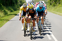 2nd July 2021; Le Creusot, France;  VAN AERT Wout (BEL) of JUMBO-VISMA and VAN DER POEL Mathieu (NED) of ALPECIN-FENIX during stage 7 of the 108th edition of the 2021 Tour de France cycling race, a stage of 249,1 kms between Vierzon and Le Creusot