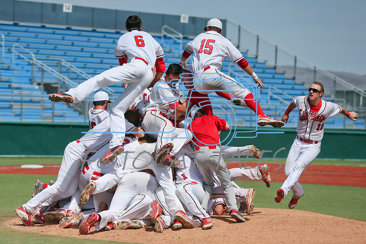 The Liberty Patriots celebrate after defeating Centennial 5-3 for the NIAA Division I state baseball championship title in Reno, Nev., on Saturday, May 24, 2014. (Las Vegas Review-Journal, Cathleen Allison)