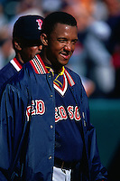 OAKLAND, CA - Pedro Martinez of the Boston Red Sox walks on the field before a game against the Oakland Athletics at the Oakland Coliseum in Oakland, California in 2000. Photo by Brad Mangin
