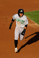 Clinton LumberKings Christopher Torres (2) runs to third base during a Midwest League game against the Wisconsin Timber Rattlers on June 20, 2019 at Fox Cities Stadium in Appleton, Wisconsin. Wisconsin defeated Clinton 5-2. (Brad Krause/Four Seam Images)