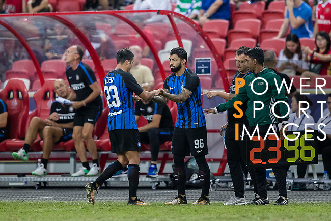FC Internazionale Forward Gabriel Barbosa (R) getting into the field during the International Champions Cup match between FC Bayern and FC Internazionale at National Stadium on July 27, 2017 in Singapore. Photo by Marcio Rodrigo Machado / Power Sport Images