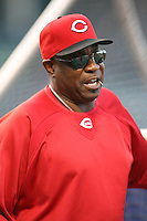 April 16, 2008:  Cincinnati Reds manager Dusty Baker (12) at Wrigley Field in Chicago, IL. Photo by: Chris Proctor/Four Seam Images