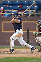 Dustin Baber (9) of the North Carolina A&T Aggies at bat against the North Carolina Central Eagles at Durham Athletic Park on April 10, 2021 in Durham, North Carolina. (Brian Westerholt/Four Seam Images)