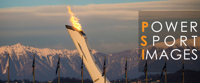 Olympic flame burning with the mountains as background during the 2014 Sochi Olympic Winter Games at the Olympic Park on February 8, 2014 in Sochi, Russia. Photo by Victor Fraile / Power Sport Images